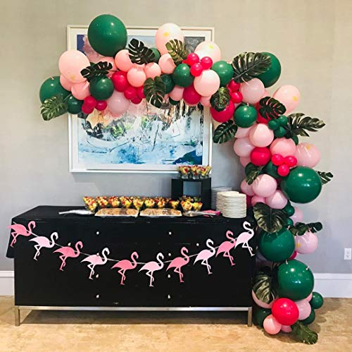 110pcs DIY Various Sizes Balloon Garland Hawaiian Summer Party Tropical Flamingo Theme Party Decor Palm Leaves Pink Hot Pink Green Balloons Garland Perfect for Baby Shower Bridal Shower Birthday Party