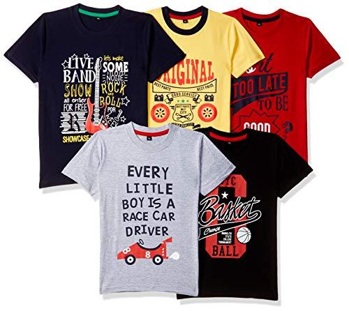 T2F Boy's Plain Regular fit T-Shirt (Pack of 5) (TSRT5P04_Multicolor 4 2-3 Years)