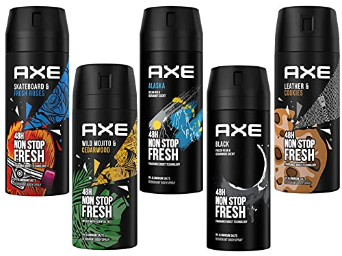 AXE Bodyspray Deo Spray Set 5x 150ml in beliebten Duftrichtungen für besonders viel Frische und Abwechslung, ohne Aluminium, mit 48h Schutz
