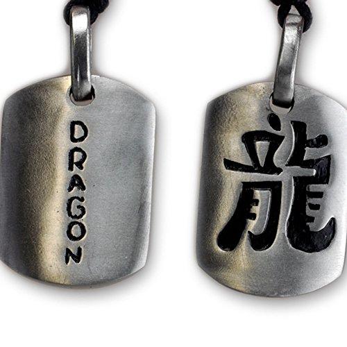 International Connection Kette Anhänger Zinn Motiv Chinesische Zeichen für Drache