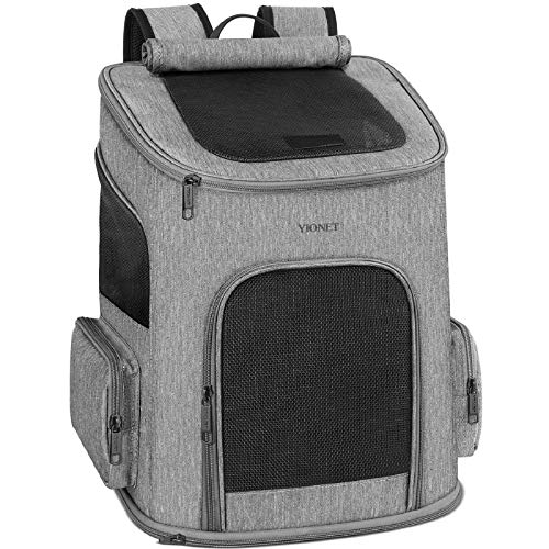 Ytonet Dog Backpack Carrier, Dog Carrier Backpack for Small Dogs Cats, Ventilated Design Breathable Pet Carrier Backpack Cat Bag for Travel Hiking Camping Outdoor Use, Grey