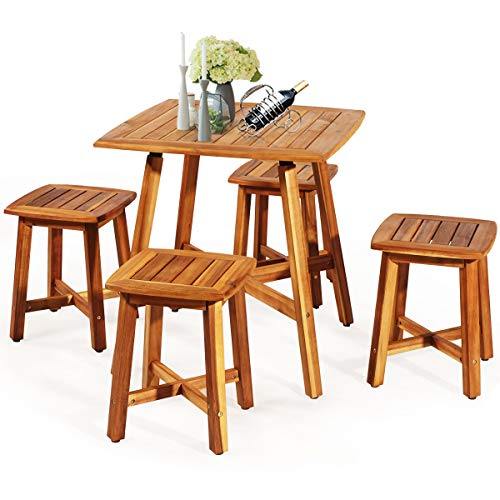 Tangkula 5 Piece Wood Patio Dining Set, Outdoor Dining Furniture w/Square Table & 4 Stools, Garden Conversation Dinging Set for Porch, Backyard, Balcony, Poolside, Reddish Brown