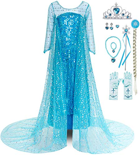 FUNNA Girls Shining Princess Costume Dress Up with Long Cap Blue with Accessories, 7 Years