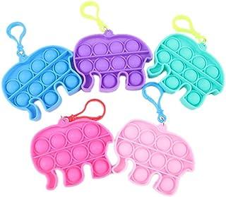 Hzemci 5PCS Mini Push pop Bubble Fidget Sensory Toys, Animal Simple Dimple Fidget Pack, Fidget Simple Keychain Toy, Stress...