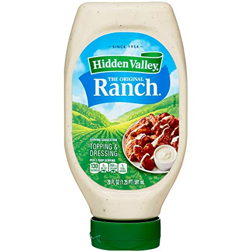 Hidden Valley Easy Squeeze Original Ranch Salad Dressing & Topping, Gluten Free, Keto-Friendly - 20 Ounce Bottle - Pack of 6 (Package May Vary) (SA 100)