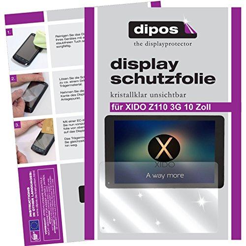 dipos I 2X Schutzfolie klar kompatibel mit XIDO Z110 3G 10 Zoll Folie Bildschirmschutzfolie