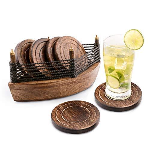 6er -Set handgefertigter Getränke-Untersetzer aus Holz: umweltfreundlich, saugfähig, mit antiker Optik. (Boat Coaster)
