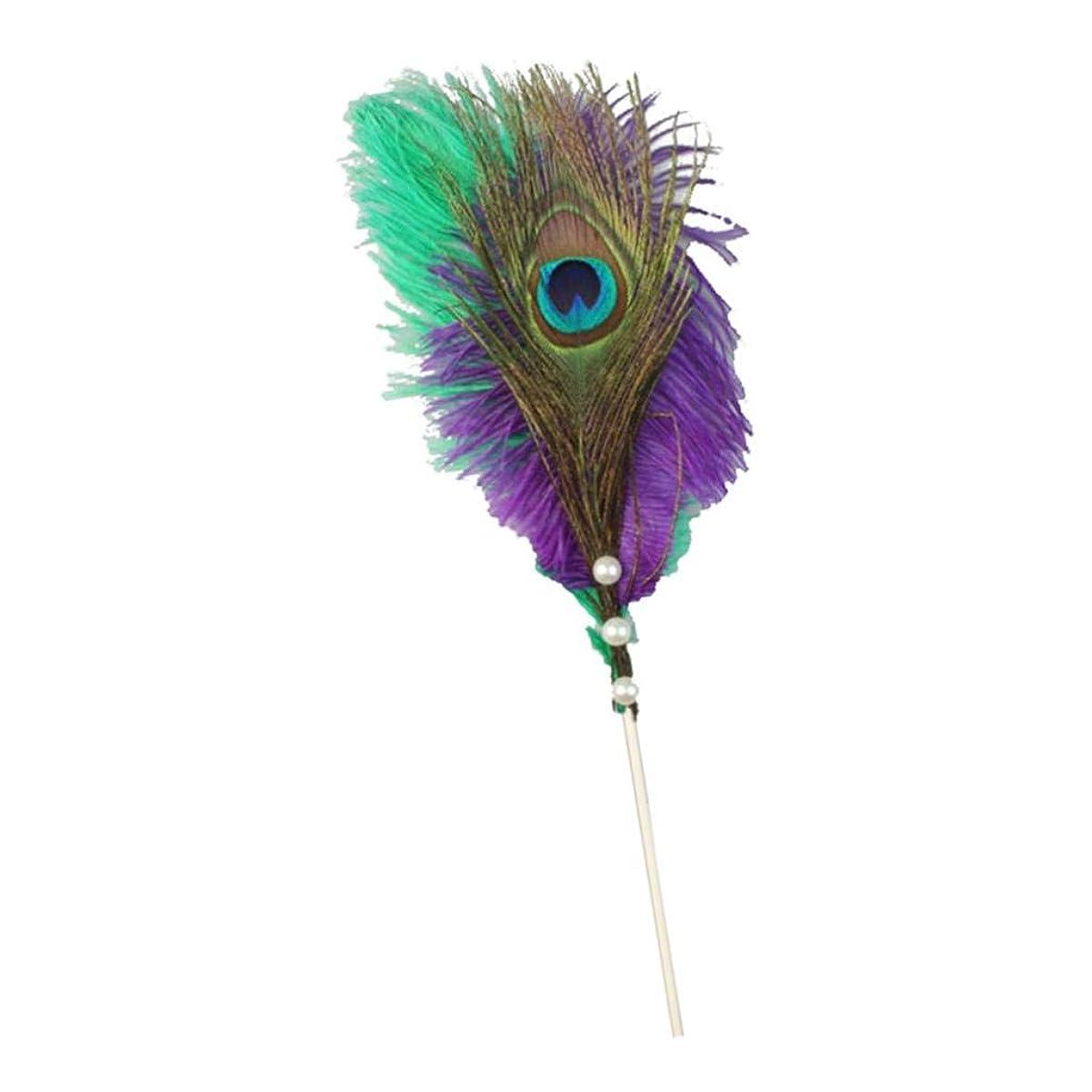 市町村宣言レーニン主義joyMerit 誕生日パーティーの装飾用品のためのフェザーケーキトッパーデザートピック - 紫の, 13.8インチ