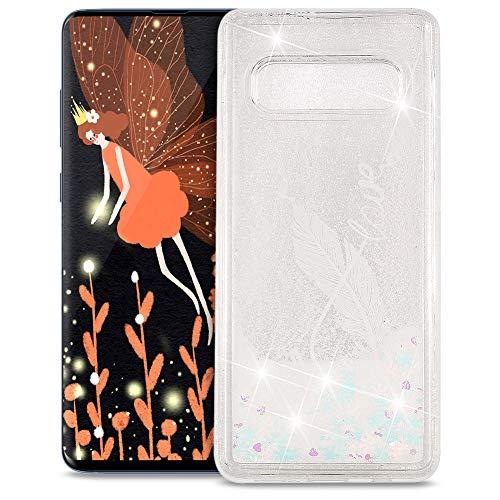 FNBK Funda compatible con Samsung Galaxy S10 Plus, funda con purpurina, funda para teléfono móvil, lujosa, suave, TPU, carcasa de silicona, diseño de flores, Weiße Feder 8 Wörter