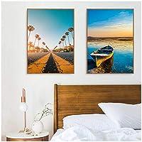 壁の芸術現代ココナッツパームツリーボートコーストキャンバス絵画北欧のポスターはリビングルームの装飾のための壁の写真を印刷します30x40cmx2フレームなし artppolr