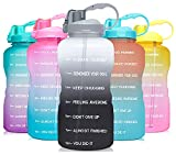 Venture Pal Large 1 Gallon/128 OZ (When Full) Motivational BPA Free Leakproof Water Bottle with Straw & Time Marker Perfect for Fitness Gym Camping Outdoor Sports-White/Gray Gradient