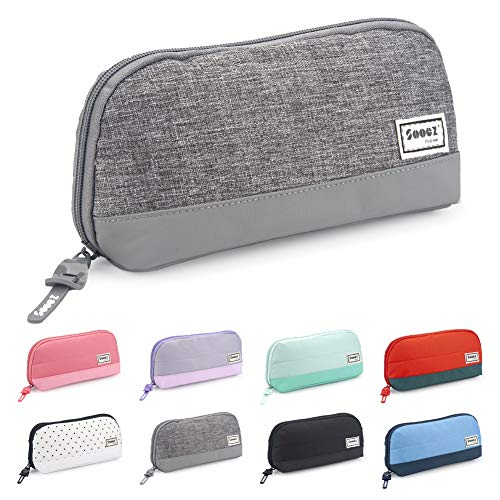Sooez Wide-Opening Pencil Pen Case, Lightweight & Spacious Pencil Pouch Zipper Stationery Bag, Aesthetic Supply with Triangular Design for Adults, Grey