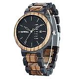 メンズ カラフル 木製腕時計 多機能 週と日付 クォーツ ミックス 木製腕時計 軽量 ゼブラウッドと黒檀 (ブラックフェイス)