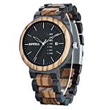 Bewell Men's Wood Watch Quartz Zebrawood and Ebony Wooden Watches with All Wood Strap