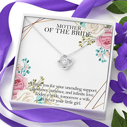 Sterling Silver Chain Gifts Jewelry For Women Her Accessories Letter-Celtic Knot Love Necklace Standard Box, Mother Of The Bride Tomorrow A Wife Forever Your Little Girl