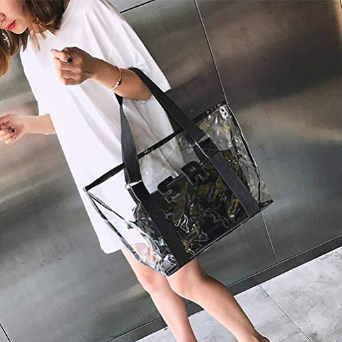 Zhongdawei Clear Bag, Beach Bag Summer Fashion Leisure Time Clear PVC Shoulder Bag Handbags Large bag handbags for all activities