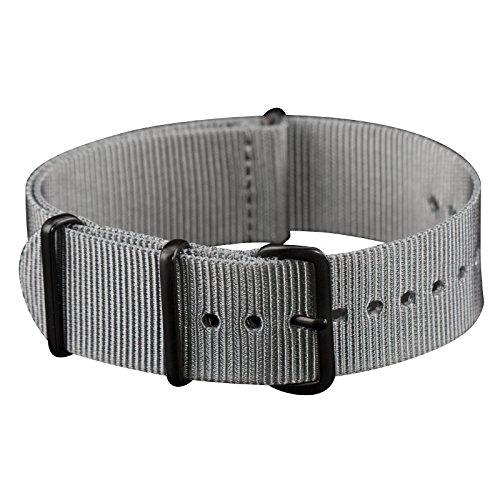 Infantry NATO Armband 20mm Dornschließe Army Militär Uhrenarmband Uhrband Natoband Nylon Band Strap Grau