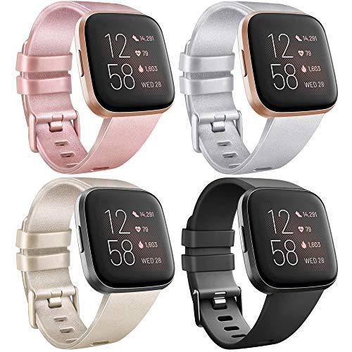 AK Cinturino per Fitbit Versa/Versa ES/Versa Lite/Versa 2, Cinturino Sportivo di Ricambio Regolabile per Fitbit Versa/Versa ES/Versa Lite/Versa 2 (S, 4 Pack Oro + Oro Rosa + Argento + Nero)