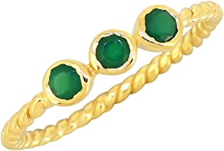YoTreasure Green Onyx Solid 925 Sterling Silver Gold Plated Adjustable Cuff Ring Genuine Gemstone Jewelry For Women or Gir...
