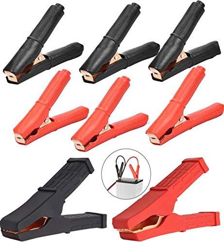 Biluer Pinzas Bateria Coche, 8PCS Pinzas Cocodrilo Coche 100A and 500A Pinzas Carga Bateria Pinzas De Sujeción Pinzas De Arranque Pinzas Cables para Cargadores De Batería(Color Rojo Y Negro)