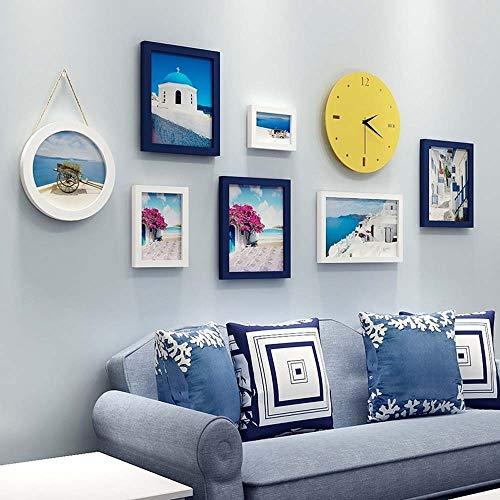 XZhstes Lienzo de Pared Pintura Mediterránea Decorativa Salón Pintura Sofá Fondo Pintura Mural Simple Nórdico Moderno Pintura De Pared Combinación Libre 8pcs Reloj De Pared Marco De Fotos Creativo