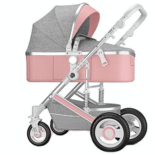 SXPC Hohe Landschaft Baby-Kinderwagen Können Liege Zwei-Wege-Stoßdämpfer Licht Leichten Falten Baby Neugeborenes Baby Kinderwagen Sitzen,Rosa