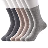 Womens Crew Socks Winter Warm Soft Cozy Cotton 6 Pack High Ankle Solid Color Knit Dress Socks for Women Size US 7-11 -  JOYOUS LUCKY