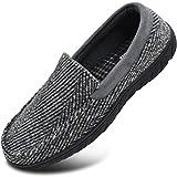 Zapatillas de mocasín de Espuma viscoelástica para Hombre Zapatos de casa sin Cordones con Suela de Goma para Interiores y Exteriores Gris Talla 45