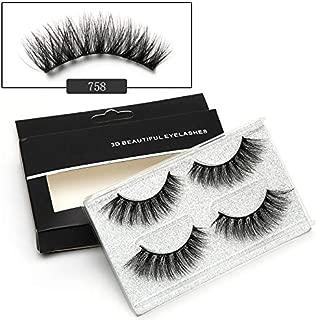 ICYCHEER Makeup 2 Pairs Mixed 3D Mink Hair Full Strips False Eyelashes Thick Long Cross Handmade Wispy Fluffy Eye Lashes Extension Soft Natural (758)