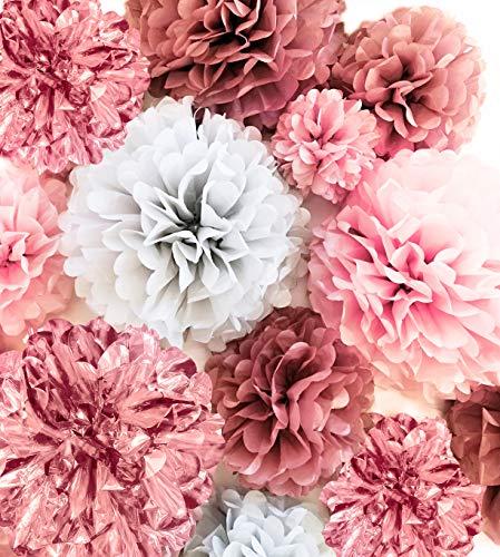 "20 PC Tissue Paper Pom Poms Decoration - Dusty Rose, Mauve, Blush Pink, Grey - Party Decoration Kit (14"", 10"", 8"", 6"") - Weddings - Bachelorette - Bridal Showers - Baby Showers - Birthday Decorations"