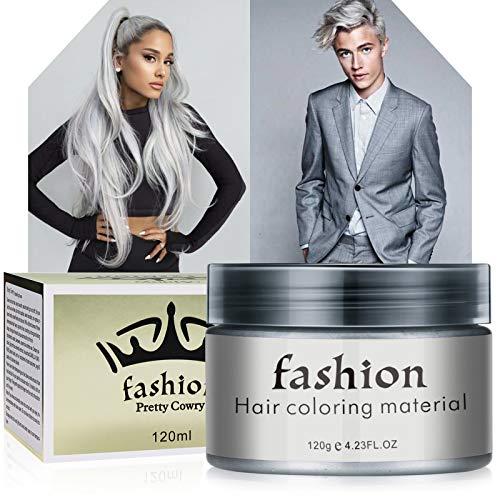 Cera para el cabello, Crema Para Colorante Pelo Temporal Para Colorante Pelo para Fiesta, Cosplay, Carnaval, Navidad - Gris120ml