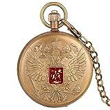 UIOXAIE Orologio da Tasca Stemma dell'aquila a Doppia Testa Distintivo dell'emblema Nazionale Russo Tourbillon in Puro Rame Meccanico a Carica Manuale Catena dell'orologio da Tasca