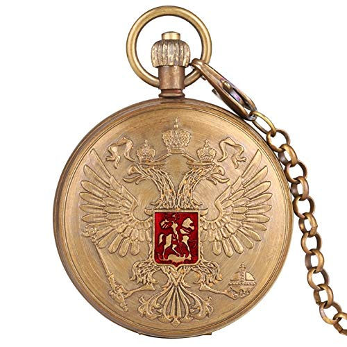 UIOXAIE Reloj de Bolsillo Escudo de Armas de águila de Dos Cabezas Insignia del Emblema Nacional Ruso Tourbillon de Cobre Puro Cadena de Reloj de Bolsillo de Cuerda Manual mecánica