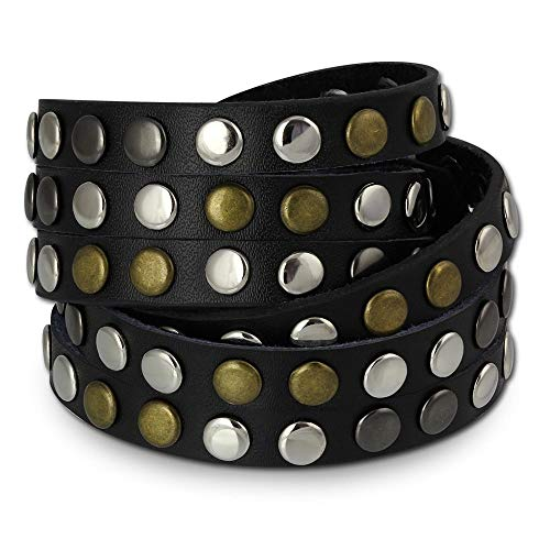 SilberDream Nieten-Lederarmband Wickeloptik doppelt schwarz für Herren oder Damen Leder Armband Echtleder LAP087S