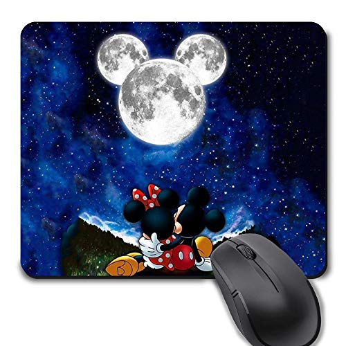 Rectangle Gaming Mouse Pad, Cute Mouse Pad with Mickey Minnie Mouse Moon Design Mousepad Mouse Mat with Non-Slip Rubber Base(9.5 x 8 inch)