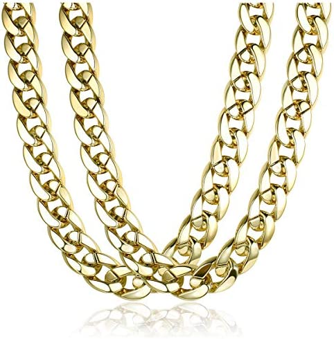Subiceto 80s 90s Costume Fake Gold Turnover Chain Necklaces for Men Women Plastic Chunky Hip product image
