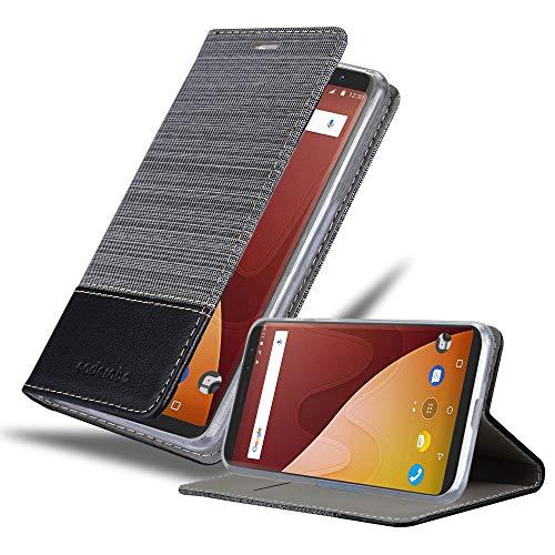 Cadorabo Hülle für WIKO View Prime in GRAU SCHWARZ - Handyhülle mit Magnetverschluss, Standfunktion & Kartenfach - Case Cover Schutzhülle Etui Tasche Book Klapp Style