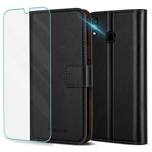 Pinzoveno Funda Carcasa Libro con Tapa para Samsung Galaxy A20/A30 con Carátula de Cartera y Protector de Pantalla Pata de Cabra Folio de Cuero PU Cubierta de Teléfono para Galaxy A20/A30-Negro