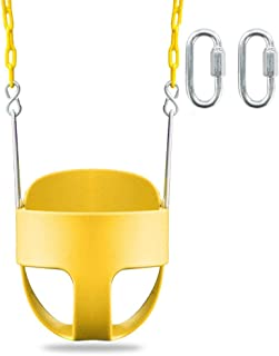 JOYMOR Toddler Swing Extra Long Chain with 2 Carabiners High Back Full Bucket Seat for Kids Outdoor (Yellow)