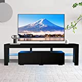 Black TV Stand for 70 Inch TV Entertainment Center Stand LED TV Stand with 2 Drawers for TV Console Cabinet Media Cable Box Gaming 70 inch TV Stands for Bedroom Living Room