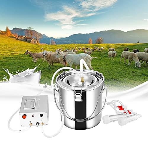 TTLIFE Elektrische Melkmaschine Kit 7L 220V Ziegen Melker Tragbarer Elektrische Schaf Melkmaschine Luftdichtes Fass Vakuum-Pulsations-Milchpumpe aus Rostfreiem Stahl Automatischer Stopp