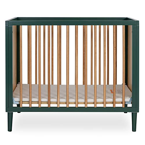 Dream On Me Lucas Mini Modern Crib with Rounded Spindles I Convertible Crib I Mid- Century Meets Modern I Portable Crib