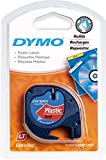 Dymo S0721680 LetraTag Plastic Tape, Self-Adhesive, 12 mm x 4 m Roll - Black Print on Red