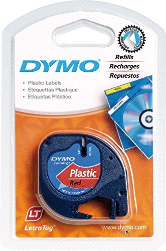 Dymo Authentisch Kunststoffetiketten LetraTag, 12 mm x 4 m, schwarz auf rot, für Dymo LetraTag Etikettendrucker
