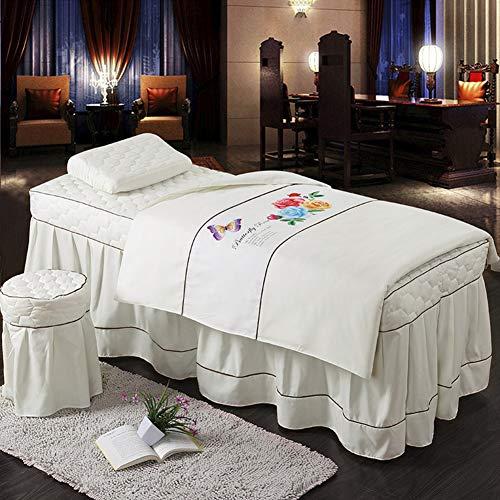 GX&XD Gesteppter Schönheit Bettdecke Weiß 4 stück Massage Tisch plansätze Volltonfarbe Bettdecken Hautfreundlich Bettwäsche-Set Für Schönheit Salon Mit Gesicht Rest Loch-I 190x70cm(75x28inch)