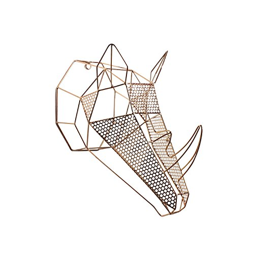 Kate and Laurel Orbie Geometric Metal Mounted Rhino Head Wall...