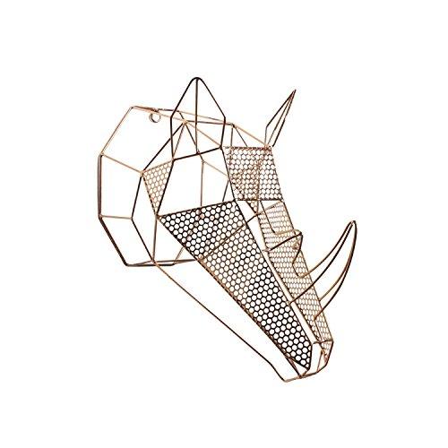 Kate and Laurel Orbie Geometric Metal Mounted Rhino Head...