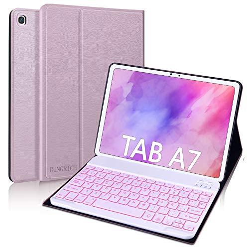 """DINGRICH Funda Teclado para Samsung Galaxy Tab A7 10.4"""" 2020, Español Ñ Teclado 7 Color Retroiluminación Bluetooth Inalámbrico Extraíble para Samsung Galaxy Tab A7 SM-T500/T505/T507 2020 Oro Rosa"""