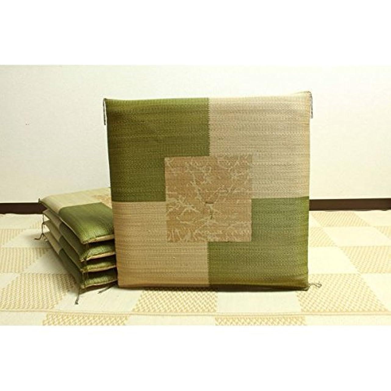 失われた生物学極小純国産/日本製 捺染返し い草座布団 『草美(くさび) 5枚組』 グリーン 約55×55cm×5P