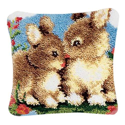 K9CK Kit de Crochet Tejer, Crochet Tejido De Punto Tema Animal Amortiguar Alfombra de Ganchillo Funda de Almohada Kit Bordado para Principiantes Adulto Niños - Conejo